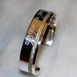 Armspange 935/- Silber mit Pferdehaar 20mm breit